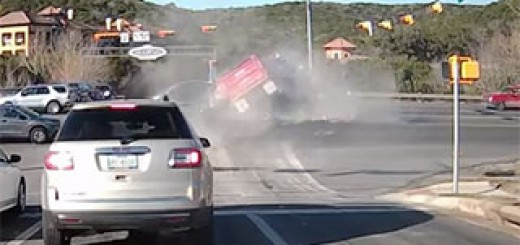 Dump-Truck-Plows-Through-Intersection