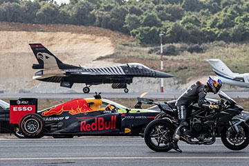 Course avion moto telsa F1