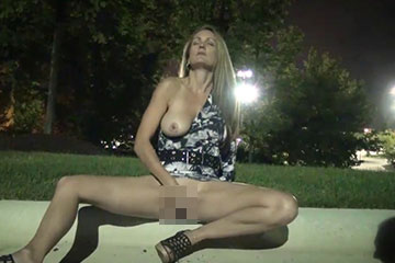 Mature blonde masturbation public
