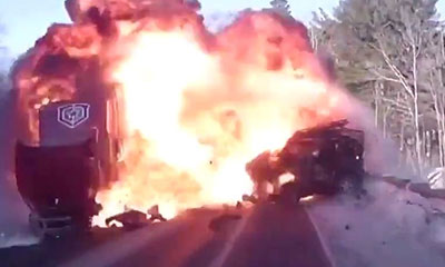 Accident camion jeep explosion